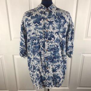 Hana Bay Island Style XL blue/white Hawaiian shirt